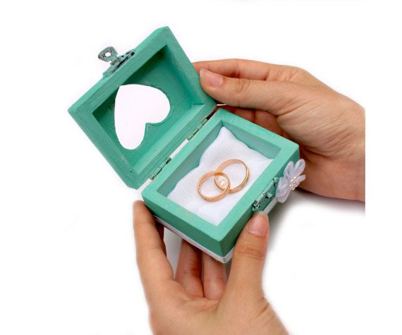 RING BOX with Pillow WEDDING  mint green ring box Ring by PilipArt, $24.00