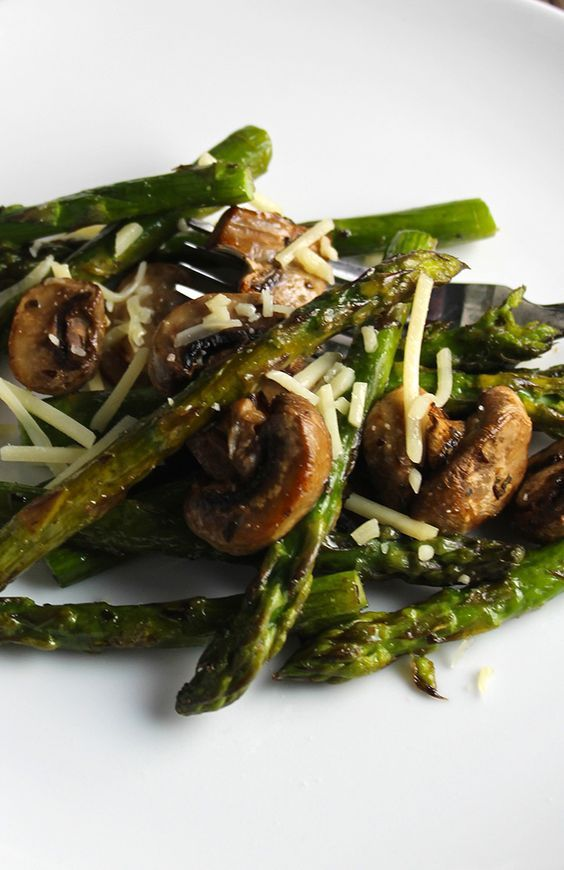 Roasted asparagus and mushrooms tossed with cheese is a great spring side dish. Pairs well with red wine.