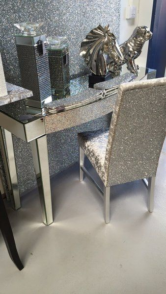 The Stunning Glitter Furniture Company Dining room chair/ bedroom chair  silver glitter - silver velvet