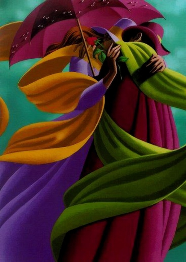 Love the use of purple, green and orange in this painting by Claude Theberge