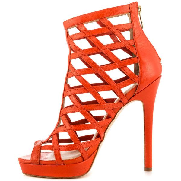 Nicole Miller Women's Amelia - Orange (£85) ❤ liked on Polyvore featuring shoes, sandals, high heel shoes, orange high heel sandals, high heeled footwear, leather shoes and high heel platform sandals