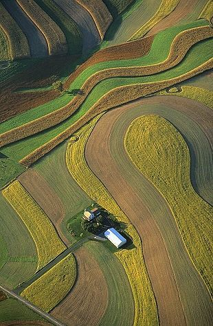 Aerial photography drone : Aerial photo of Amish Farm Lancaster County Pennsylvania