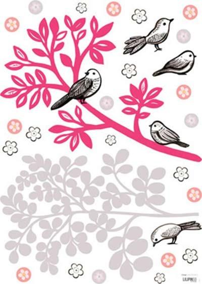 Preciosas pegatinas para pared infantil con pajaritos y ramas de colores. Impresas en vinilo de alta calidad