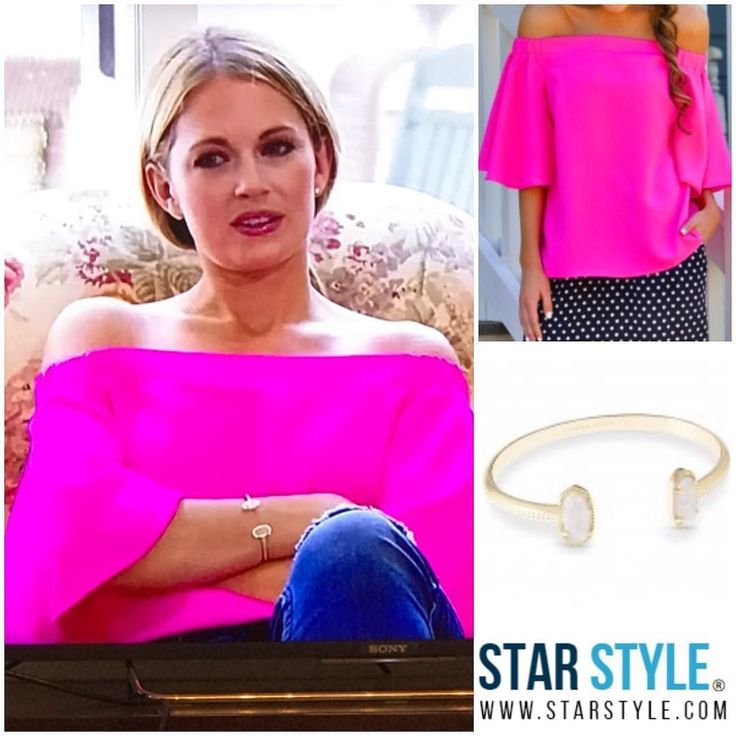 Cameran Eubanks wore an off the shoulder top and Kendra Scott bracelet on Southern Charm #southerncharm #cameraneubanks Shopping info at www.starstyle.com
