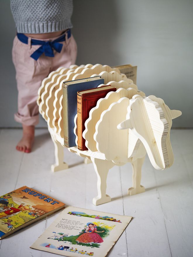 furniture, children's bookshelves, sheep bookshelf, baa baa bookshelf, Rowen and Wren, published by Bobby Rabbit