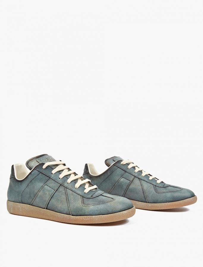 Maison Margiela 22 Green Leather and Suede REPLICA Sneakers