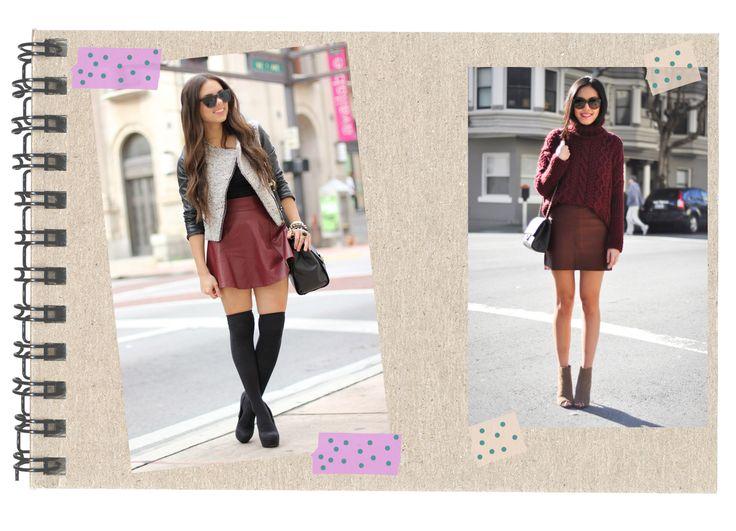 Burgundy leather skirt Inspiration