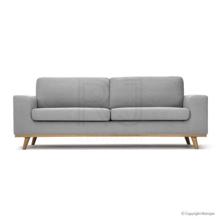 Greta Danish Design 3 Seater Sofa - Light Grey/Oak Legs
