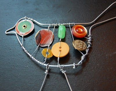 wire art, use found forest objects to add in, use gimlet tool/bradawl for holes.