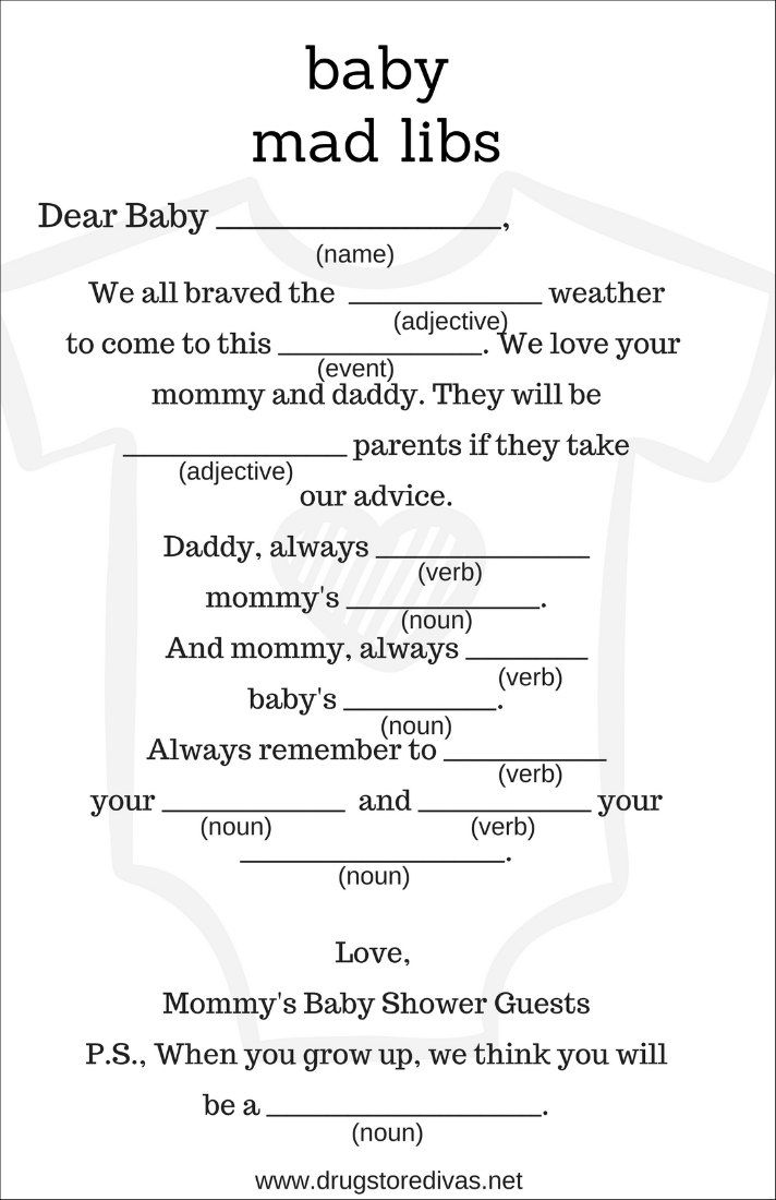 graphic relating to Baby Shower Mad Libs Printable referred to as Do-it-yourself Youngster Shower Outrageous Libs (with free of charge printables Angies