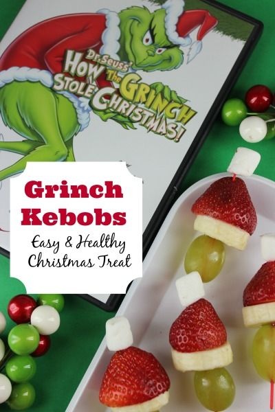 Fruit Kebobs - The Grinch Christmas Treats! Adorable fun food ideas for your next Holiday party. Grinch cakes, popcorn, cocktails and school snacks.