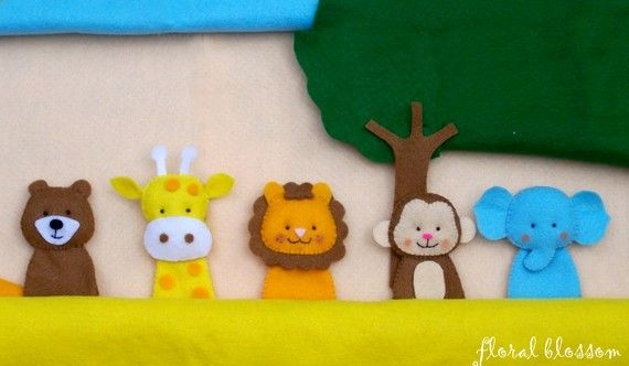 PDF Pattern Zoo Friends 01 Felt Finger Puppets by FloralBlossom, $5.00