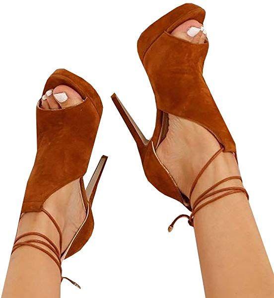 c9ad7c2fd1836 Amazon.com   Runcati Womens Peep Toe Thin High Heels Pumps Suede ...