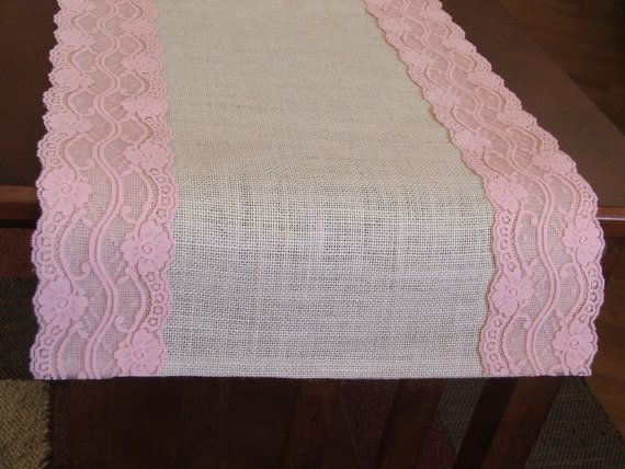 burlap lace pink baby shower | Burlap table runner with pastel pink lace wedding table runner baby ...