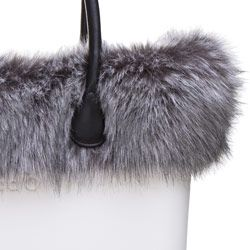 Fox Faux Fur Trim - Grey Black - O Bag Accessory. A finishing touch for the standard O bags. Fixes inside to the ends of the handles. NOTE: Not real fur.