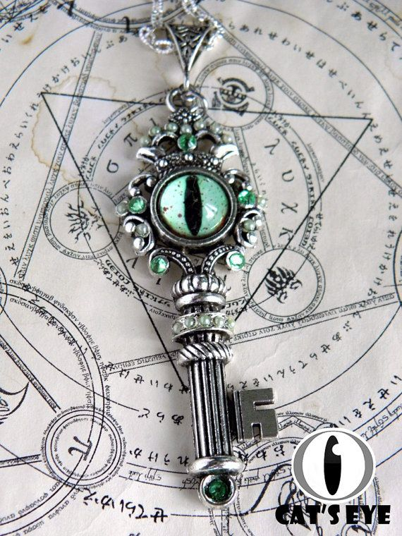 Fantasy glass eye-key Antique silver color by CatsEyeHandmade