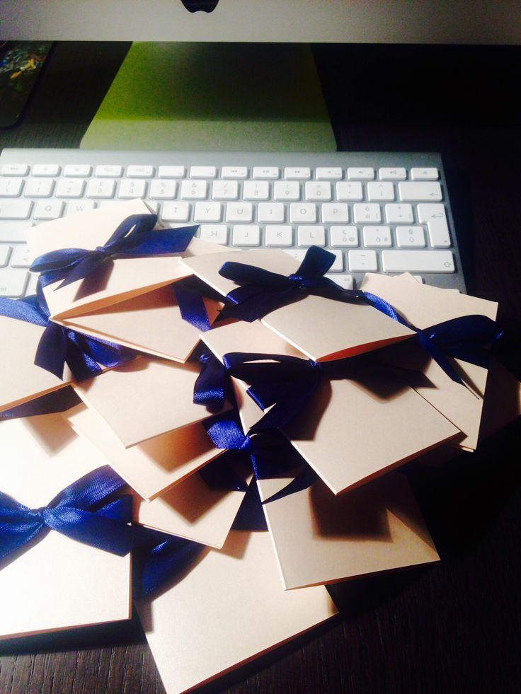 #Biglietti ringraziamento #blu e #cipria. Creazioni #edigistudio