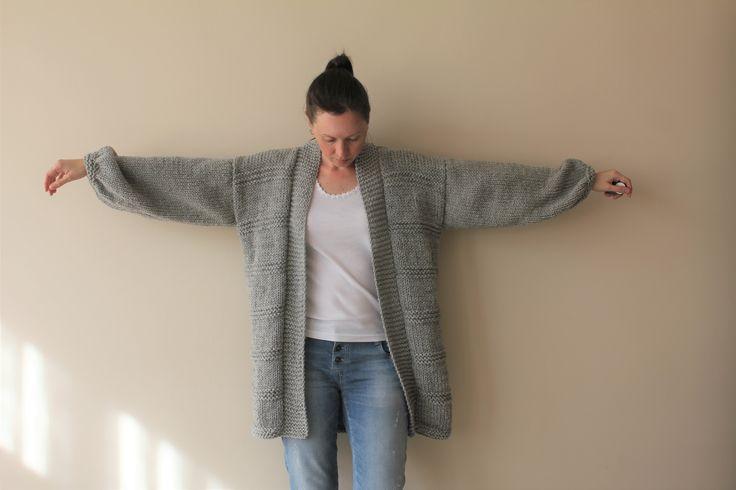 Knit Sweater Cardigan /Women's Gray Oversized Chunky Sweater Cardigan / Women's Cardigan / Women's Sweater / Long Cardigan