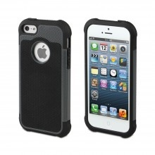 Forro iPhone 5 Anti-Shock Negra Gris Muvit - con Protector Pantalla  Bs.F. 151,30