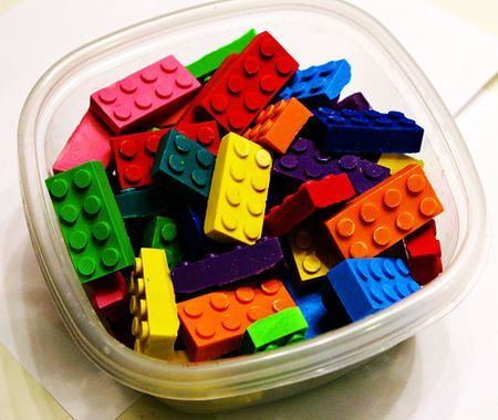 Lego crayons  If you have lego-lovers around your house, you could definitely have a set of these by Christmas, because melting crayons and pouring them into molds is easy peasy.  FYI, Do NOT melt your crayons in the microwave, not even if the powers of Google tell you that it's OK.  It's NOT OK.  It will kill your microwave.  And then a $6 project turns into a $75 dollar project, and that makes nobody happy.