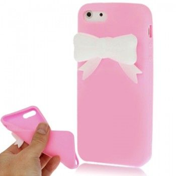 Bow Pattern Silicon Case for iPhone 5 - Pink