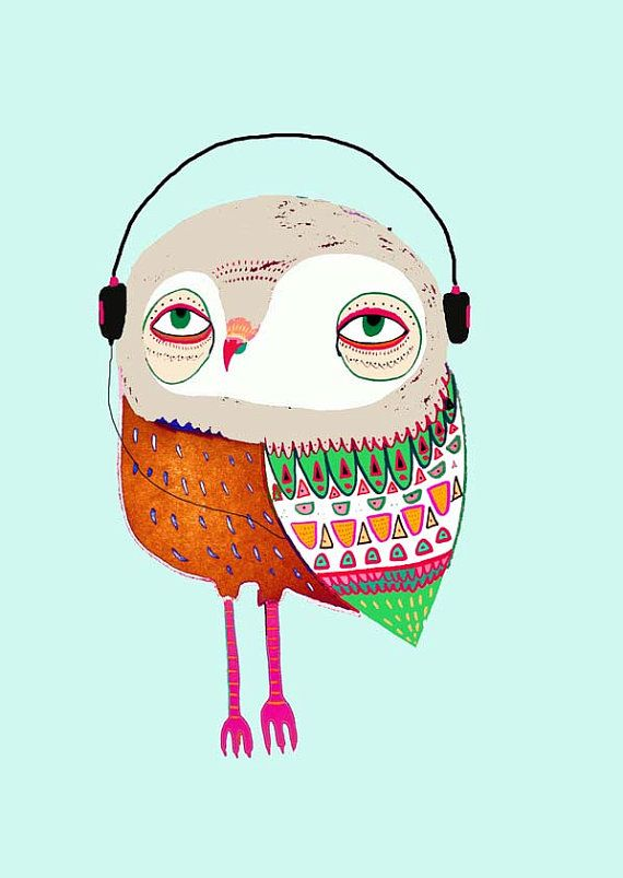 Owl with Headphones. Kids wall art. Illustration by AshleyPercival, $40.00