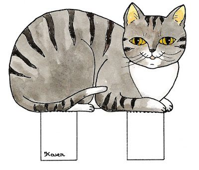Karens Kravlenisser. Cut-outs and Colouring Pages. : Cats Cutouts to Print in Colours. katte udklip til at printe i farver.