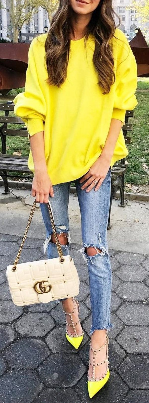 #thanksgiving #fashion · Yellow Knit // Bleached & Destroyed Skinny Jeans // Yellow Studded Pumps // Beige Channel Shoulder Bag