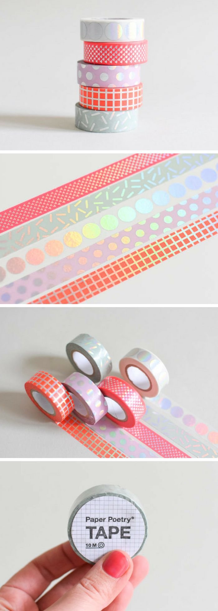 LOVE this washi tape. Never seen a holographic /shiny one before! Iridescent masking tape in 5 colors Stylish washi tape that will add a bit of glamour to your gifts. There are 5 patterns to choose from: A. Pink with dots B. White with large polka dots C. Red grid D. Aqua Confetti E. Hot Pink with triangles The listing is for one roll of tape with 10 meters / 11 yards. #ad #stationery #washi #crafts #etsyfinds