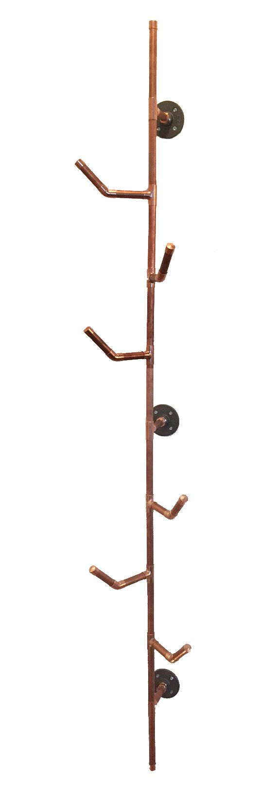 HANG IT Coat Rack- 6 series  Made of 100% Copper Pipe Size: 66H x 10 W 6 Hooks are arranged in a staggered pattern to provide maximum hanging potential. Mounts to wall in 3 places. Mounting Hardware included  * Also available in 3 hook option, check out my shop for this listing