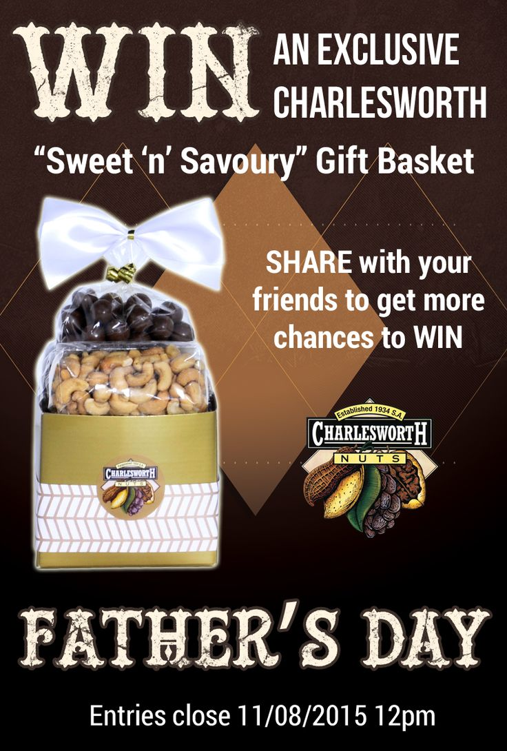 Enter now and go in the draw to WIN a fantastic Charlesworth Nuts Fathers Day Sweet n Savoury basket, full of the best and freshest nuts, fruits and chocolates in Australia. Share with your friends and get an additional 3 more entries...Wow!