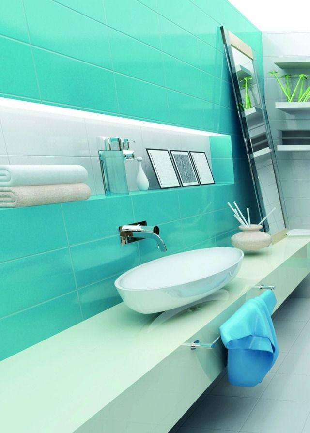 stauraum ideen fr badezimmer eingebaute nischen und regalen aquafarben - Moderne Badezimmer Trkis