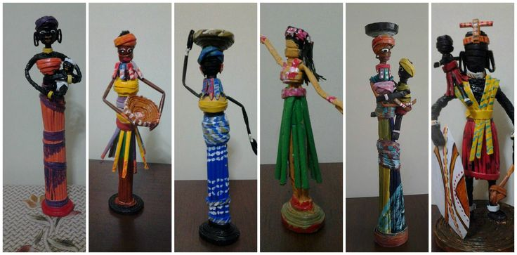 African doll from newspaper tubes