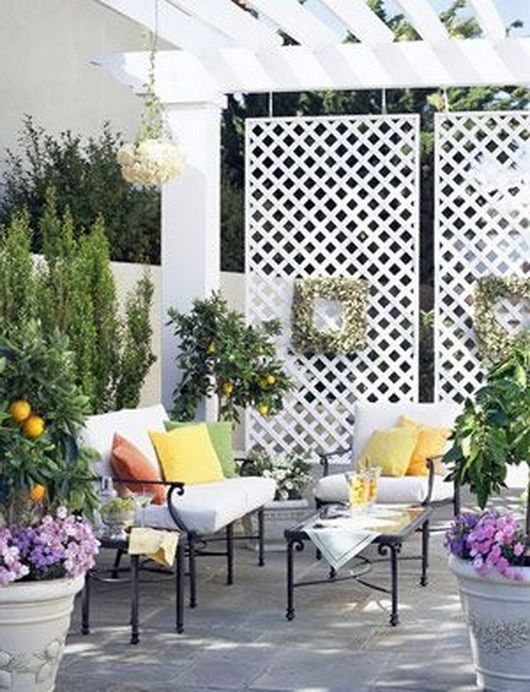 43 best front porch ideas images on pinterest decks for for Hanging privacy screens for decks