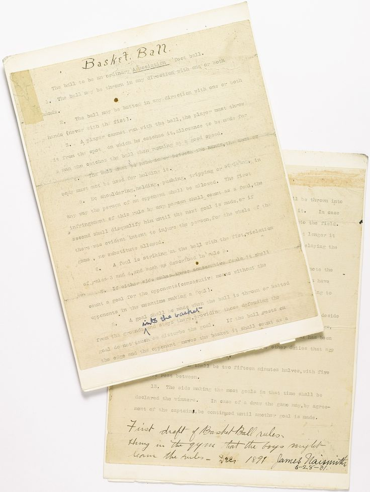 1891 James Naismith's Original Rules of Basketball