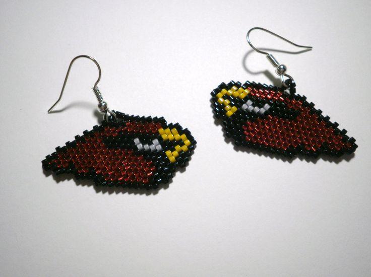 Cardinal Bird  Dangle Earrings Arizona Cardinals Football Mascot and St Louis Cardinals Baseball Mascot by JazminsJewels on Etsy