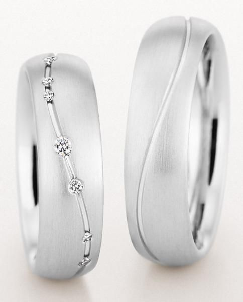 585 Weissgold, seidenmatt mit Fuge, Christian Bauer White gold - Marryring favorably online buys