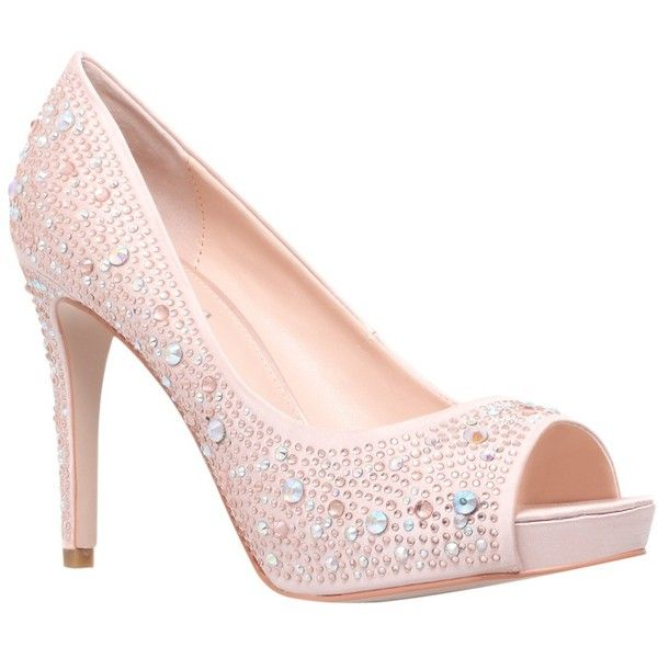 Carvela Grin Court Shoes, Pale Pink (€95) ❤ liked on Polyvore featuring shoes, pumps, blablabla, heels, peep toe shoes, heels stilettos, stiletto pumps, satin peep toe pumps and peeptoe pumps