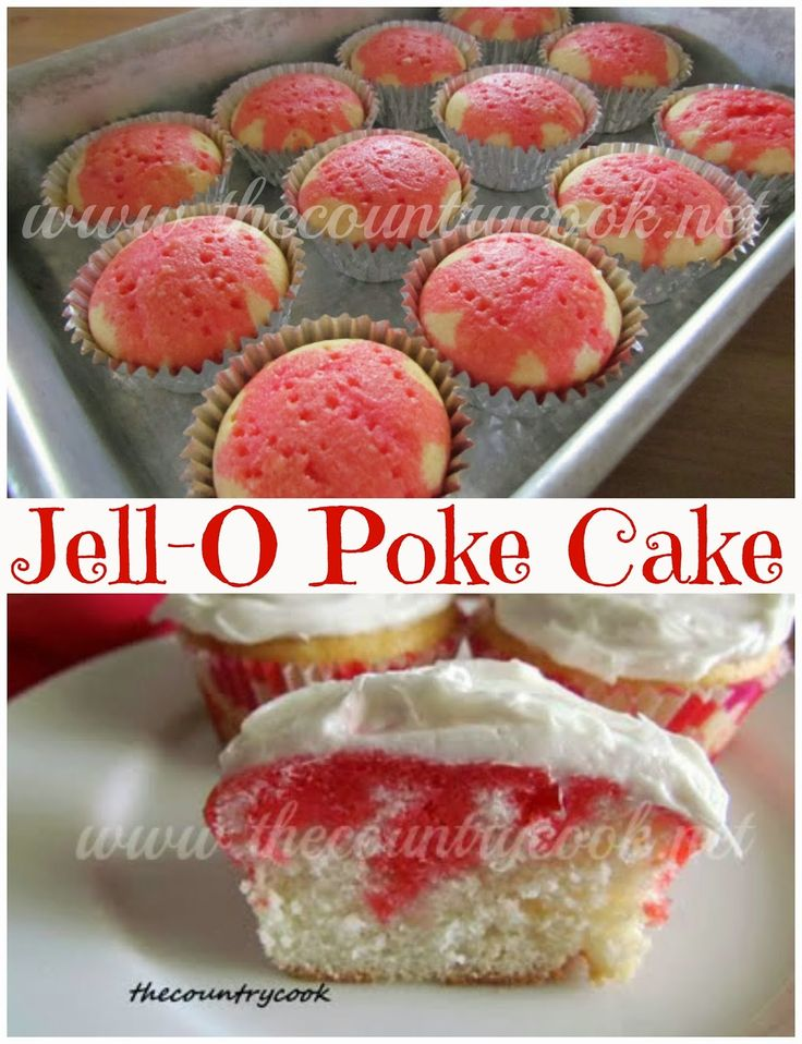 Strawberry Jell-O Poke Cupcakes - Love the fact that it's CUPcakes. Don't forget to top it with a slice of strawberry for garnish. ***TIPS - Use the foil liners - the excess liquid soaks the paper liners. Also, use fork to poke holes and don't be afraid to go deep with fork. I was too cautious and used a toothpick. Didn't get enough strawberry swirl in there the previous way. So.. fork, deeper, foil liners - CHECK.