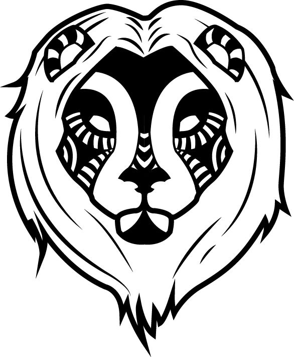 T-Shirt - Black and White Lion Design