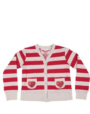 Paper Wings Red Sequin Hearts Cardigan