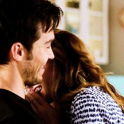 """Kara and Mon-El laughing together about Kara breaking guys' noses trying to kiss them is just so darn cute. I love that she doesn't have to sweat any of that careful stuff with Mon-El <3 (gif from emmastones on tumblr) 