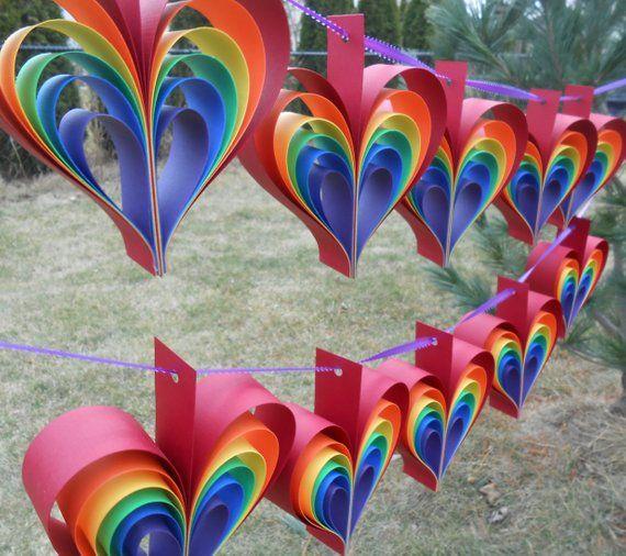 ZWEI Girlanden REGENBOGENHERZEN. 10 Herzen. Hochzeit, Dusche Dekoration, Home Deco …   – Birthday Decorations