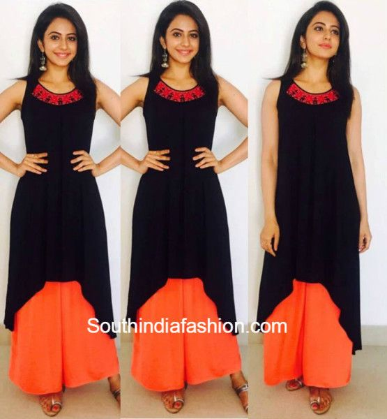 a black asymmetrical kurti and orange palazzos