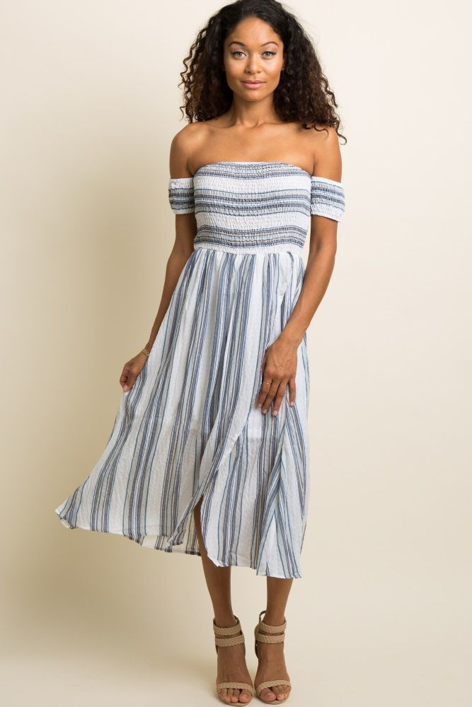 8da75d394cd Blue Striped Smocked Off Shoulder Midi Dress