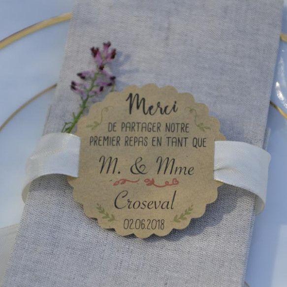"""Mariage étiquette kraft """"Premier repas"""" N°2"""