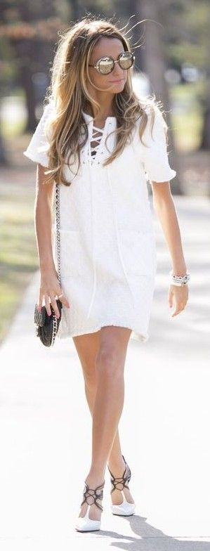#street #fashion |Lace Up LWD + Christian Louboutin Pumps |North Of Manhattan                                                                             Source