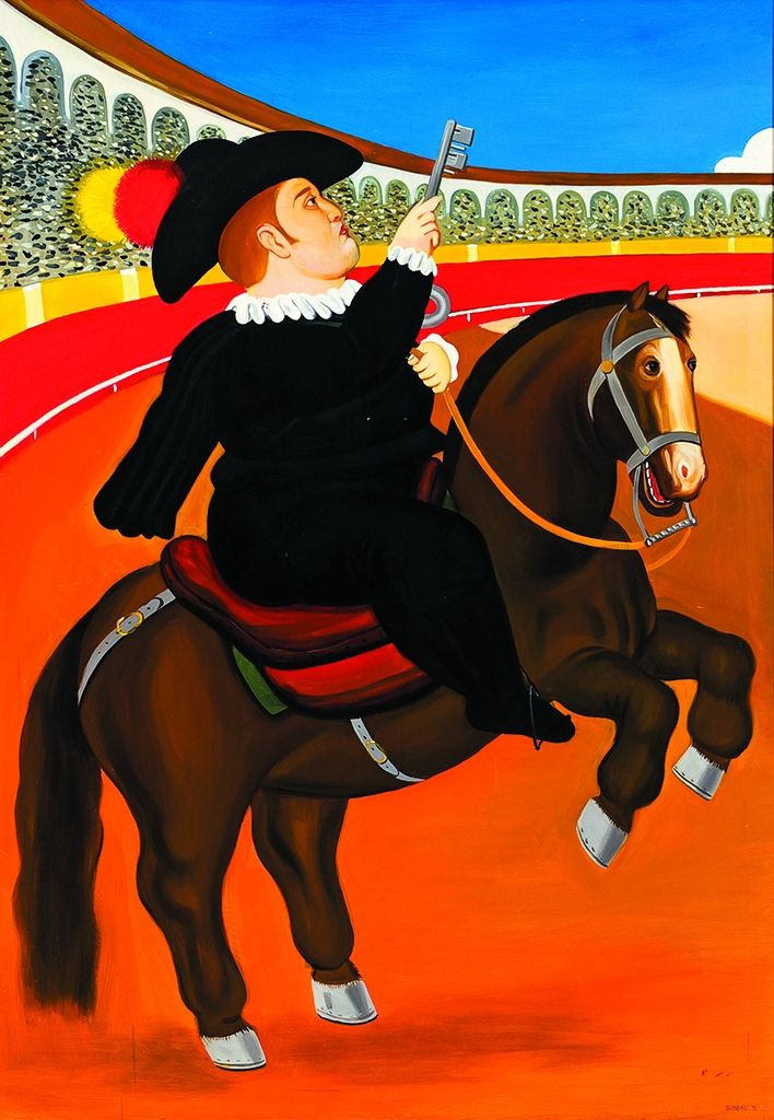 "COPIA DE BOTERO  REFERENCIA:  3364-13  ""Alguacil"".  Firmado: Botero 71.  Óleo / lienzo.  Medidas: 179 x 120 cm."