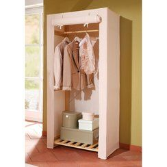 photo Armoire Penderie En Pin Massif Et Tissu Home Affaire - Marque Anonyme