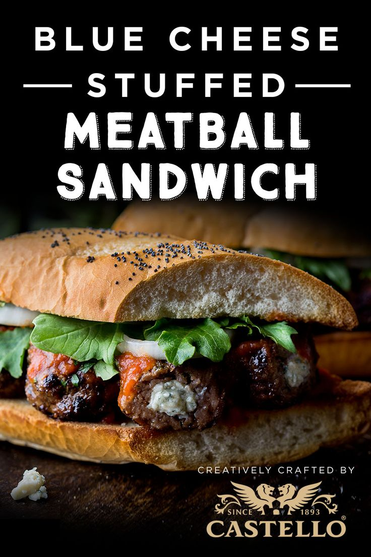 Weeknight dinner is deliciously messy with this Blue Cheese-Stuffed Meatball Sandwich recipe using Castello Traditional Danish Blue cheese.